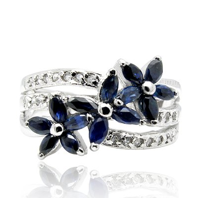 100% Genuine Nature Sapphire 925 Sterling Silver Platinum Plating LUXURY Ring Gem Fine Jewellery-SizeR