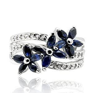 100% Genuine Nature Sapphire 925 Sterling Silver Platinum Plating LUXURY Ring Gem Fine Jewellery-SizeI