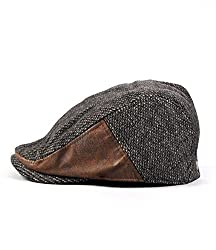 Locomo Tweed Cotton Pu Leather Vintage Newsboy Beret Cap Hat Brown Ffh035brn