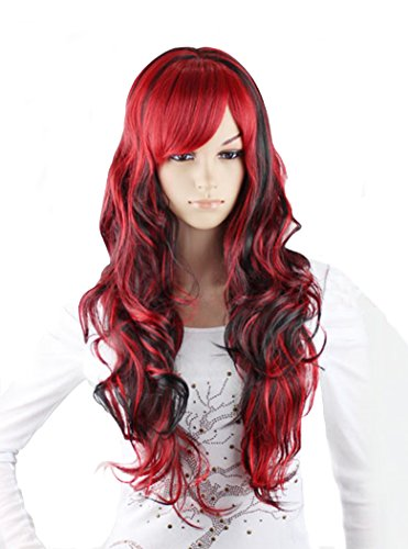 DAYISS Women's Harajuku Long Curly Wave Wig Cosplay Party Costume Black+Red