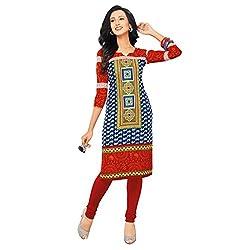 Stylish Girls Women Cotton Printed Unstitched Kurti Fabric (SND251_Blue_Free Size)