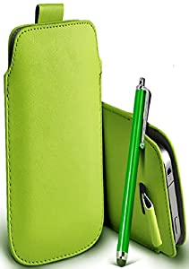 Great Deals on Click Sales®, SAMSUNG I9500 GALAXY S4, SAMSUNG I9300 GALAXY S3, PU PULL TAB, Flip Grip Protective POUCH WALLET SKiN POCKET LEATHER CASE COVER + Touch Screen Stylus Pen (GREEN)