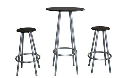 Ethos trio mesa alta con 2 taburetes color negro - Mesa alta con taburetes ...