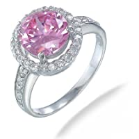 Vir Jewels Sterling Silver Pink and White CZ Ring In Size 7 by Vir Jewels