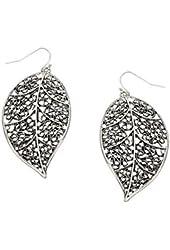 Beautiful Leaf Rhodium Plated Dangle Earrings