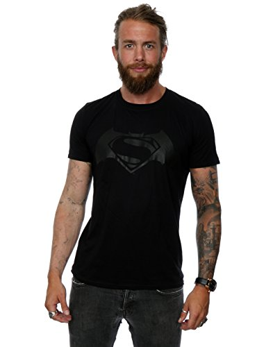 DC-Comics-hombre-Batman-v-Superman-Logo-Print-Camiseta-X-Large-Negro