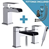 Waterfall Bathroom tap set - Square Waterfall Basin Mixer including waste and fittings and Bath Shower Mixer with Hand Shower