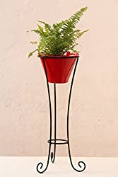 Green Gardenia Iron Pot Stand Large With Metal Pot-Red