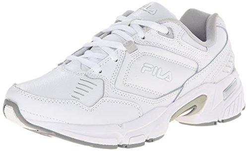 Fila Women's Memory Comfort Training Shoe, White/White/Metallic Silver, 9.5 M US
