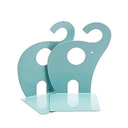 MERSUII Practical 1 Pair Cute Elephant Shape Metal Bookeds (Blue)