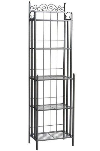 bakers rack 5 slatted shelves wrought iron storage organizer home decor shelf ebay. Black Bedroom Furniture Sets. Home Design Ideas