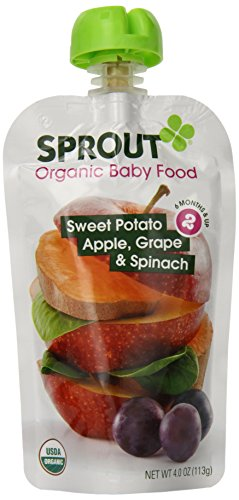 Sprout Organic Foods Stage 2 Pouches, Sweet Potato, Apple, Grape & Spinach, 4 Ounce (Pack of 5)