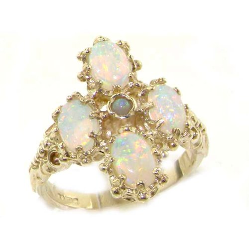 Heavy Weight Victorian Design Solid Sterling Silver Natural Very Fiery Opal Ring - Size T 1/2 - Finger Sizes K to Z Available - Perfect gift for Anniversary, Engagement, Wedding, First Child