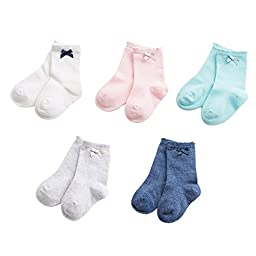 marc janie Baby Toddler Girls\' 6 Pack Cotton Bownknot Solid Socks 4T 5 Pair Pack