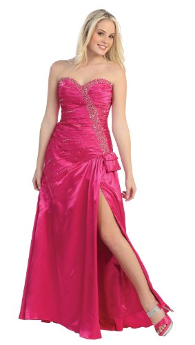 US Fairytailes Strapless Satin Rhinestone Jr Prom Dress Long Gown #2713