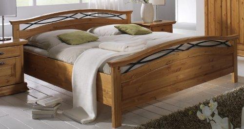 Doppelbett Bett 'Sabrina II' 200x200cm Kiefer honig massiv Holz Landhaus