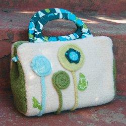 Pick Up Sticks! Knit Felting Patterns-Blossom Dot Clutch