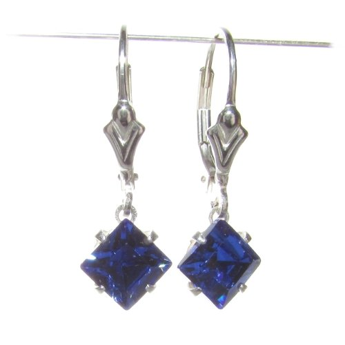 Square Sapphire Blue Swarovski Crystal drop elements on Sterling Silver Lever back earrings with Gift Box. Made in England. Beautiful jewellery for very special people.