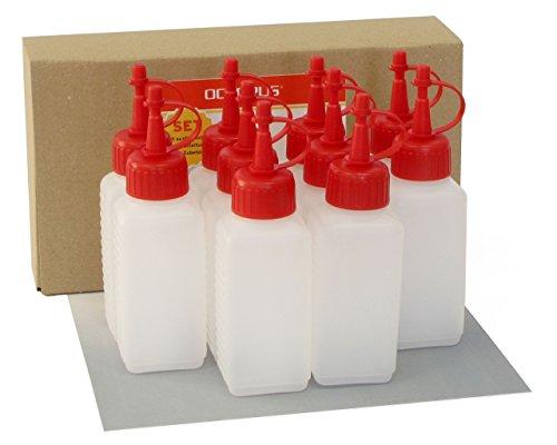 10-x-100-ml-Kunststoffflaschen-Plastikflaschen-aus-HDPE-mit-roten-Spritzverschlssen-bzw-Tropfverschlssen-zB-fr-E-Liquids-E-Zigaretten-chemikalienresistent