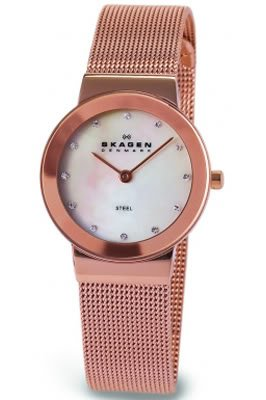 Skagen Ladies Watch 358SRRD with Gold Stainless Steel Bracelet and Mother Of Pearl Dial