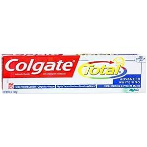 Colgate Total Advanced Whitening Anticavity Fluoride and Antigingivitis Toothpaste Gel, 5.8 Oz (Pack of 6)