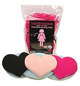Bamboobies Variety 6 Pair Pack  Super-soft Washable Nursing Pads: 3 pairs Regulars Multi-colors & 3 pairs Overnights