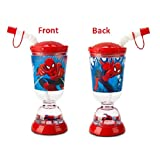 Marvels Amazing Spiderman Snowglobe Tumbler with Straw Fun Floats Sipper Tumbler Drinking Bottle
