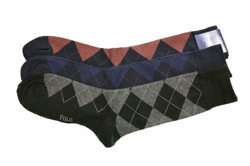 Polo Ralph Lauren Men'S 3-Pk Argyle Dress Navy Asst Socks 10-13 Fits Shoe 6-12.5