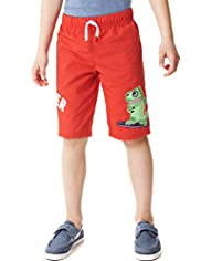 Pure Cotton Monster Surf Appliqué Shorts