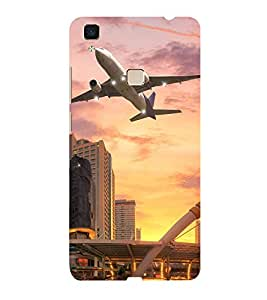 ifasho aeroPlane flying in city Back Case Cover for Vivo V3