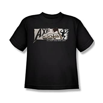 Axe Cop - First Logo Youth T-Shirt In Black, Size: X-Large, Color: Black
