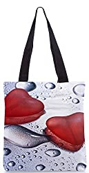 Snoogg Love Drops Poly Canvas Tote Bag