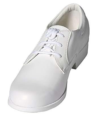 boys white lace up toe dress shoes