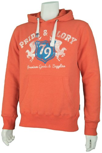 Mens 'Pride & Glory' College Style Over Head Hoodie With Print. Style Name - Lecta. In Tangerine Marl Size - Small