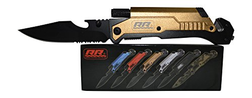 NEW Rogue River Tactical Best Gold 6-in-1 Multitool Survival Pocket Knife with Magnesium Fire Starter, LED Flashlight Bottle Opener Seat