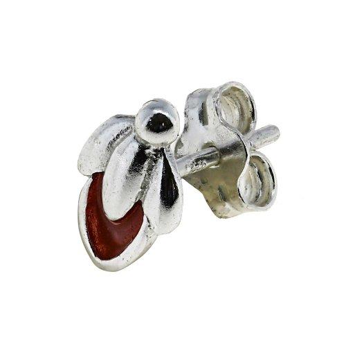 Red Flower Bud Charm Cute Earrings for Teen Girls Sterling Silver Jewelry