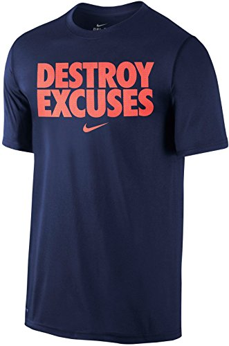 Nike Destroy Excuses Stack Bold Block Mesh Font Dri-Fit T-Shirt (Navy Blue, Large)