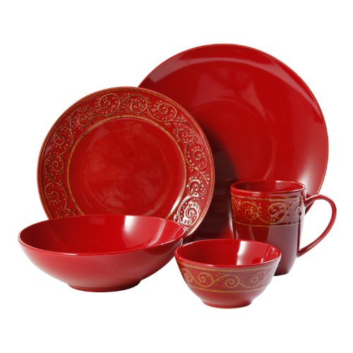 Gibson Manning Scroll 20-Piece Reactive Dinnerware Set