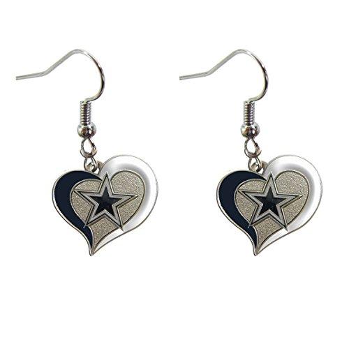 Dallas Cowboys Helmet Swirl Heart Earrings