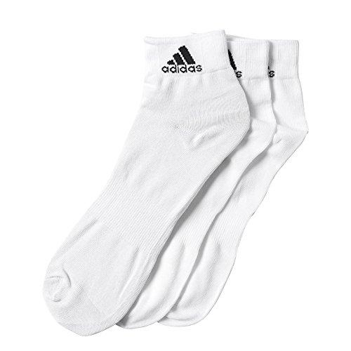 adidas - Calzini da uomo, Performance, altezza fino alla caviglia, 3 paia di calzini sottili Bianco bianco 43-46