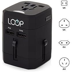 Worldwide Travel Adapter, LOOP® BEST International Plug [US UK EU AU] with Dual USB Charging Ports & Universal AC Socket, Safety Fused (Black)