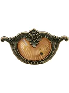 "Waterfall Drawer Pull With Bakelite Insert - 3 1/2"" Center To Center. Antique Furniture Hardware."
