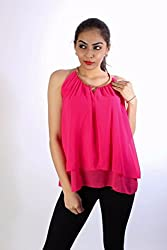 Hot Pink Georgette Chain Top