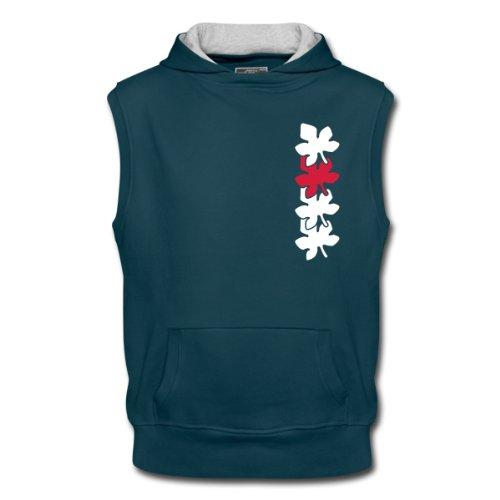Spreadshirt, leaves2, Men's Sleeveless Hoodie, petrol/ash, XL