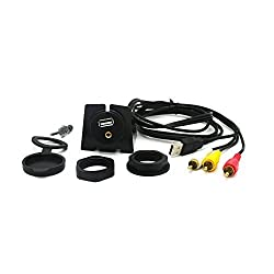 Riipoo (3ft/1 Meter) Car, Boat and Motorcycle USB & 3RCA to USB & 3.5mm Female AUX Extension Flush Panel Mount Cable. (Fulfilled By Amazon)