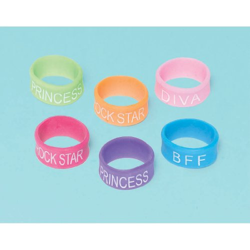 Glitzy Girl Attitude Rings Assorted