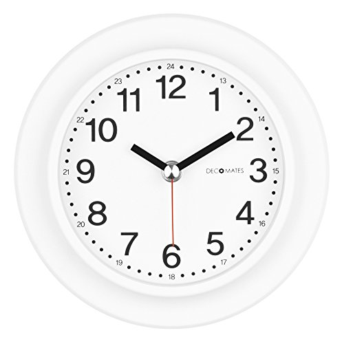 DecoMates Non-Ticking 24-Hour Silent Wall and Desk Clock, White