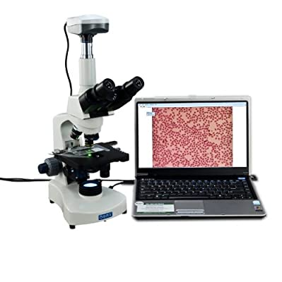 Compound Microscope :: OMAX 40X-2000X LED Trinocular Compound Microscope with Reversed Nosepiece and 30 Degree Siedentopf Viewing Head and 5.0MP USB Camera from Omax