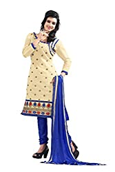 DKS Designers Women's Chanderi Unstitched Dress Material (PARI204_Beige_Free Size)
