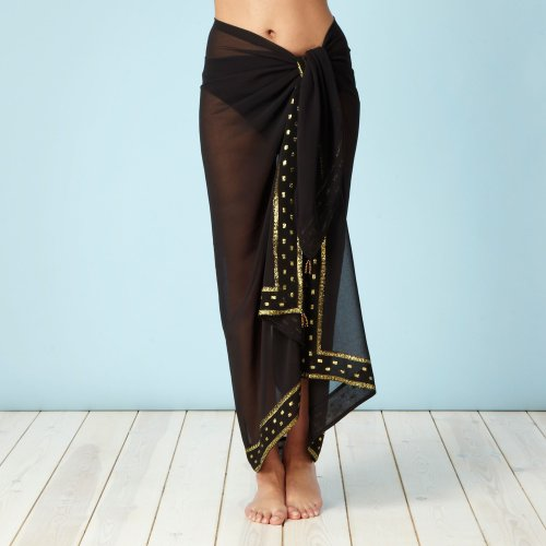Beach Collection Black Embroidered Sarong